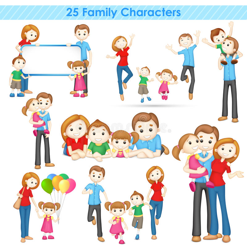 samling för familj 3d vektor illustrationer