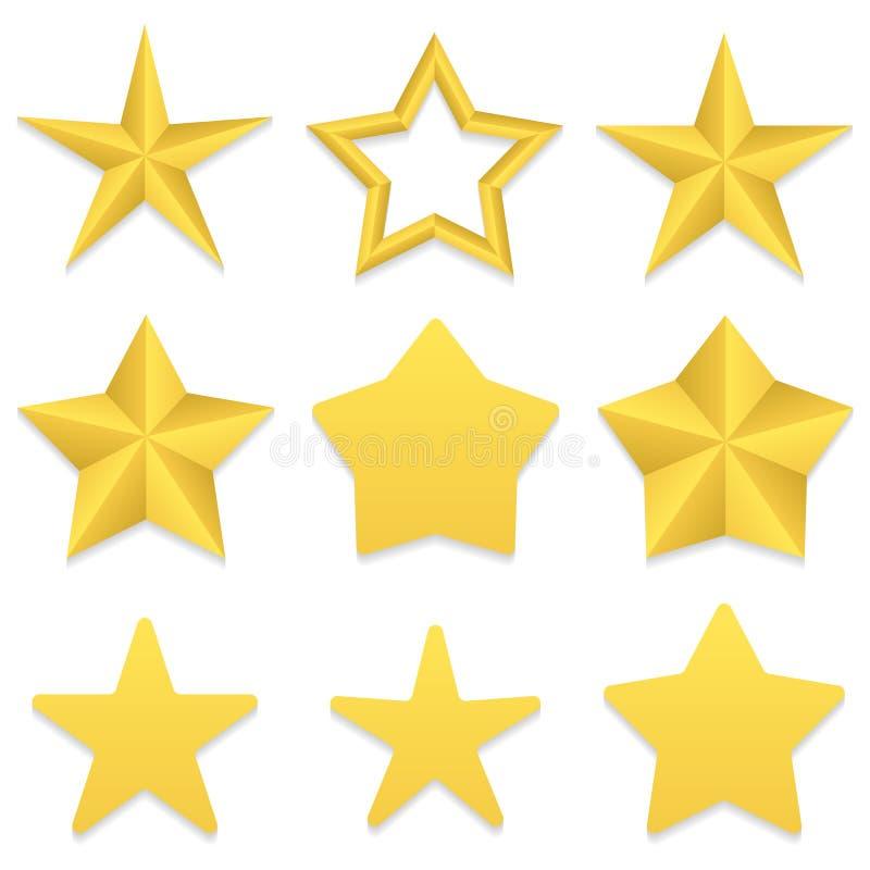 Samling för fem punktstjärnor royaltyfri illustrationer