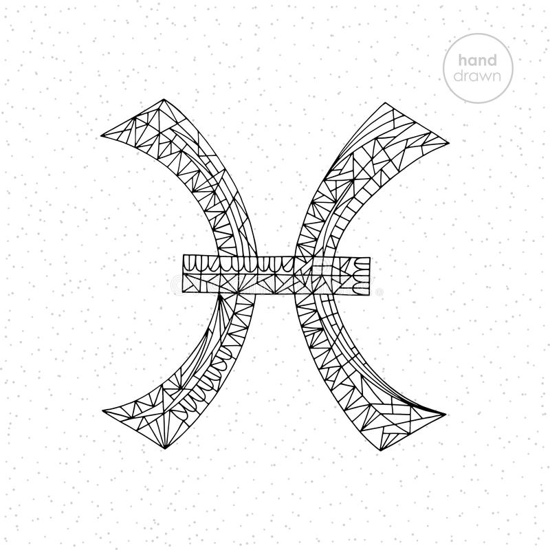 Samling för Fiskarnazodiaktecken För horoskopserie för vektor hand dragen illustration Astrologisk färgläggningsida royaltyfri foto