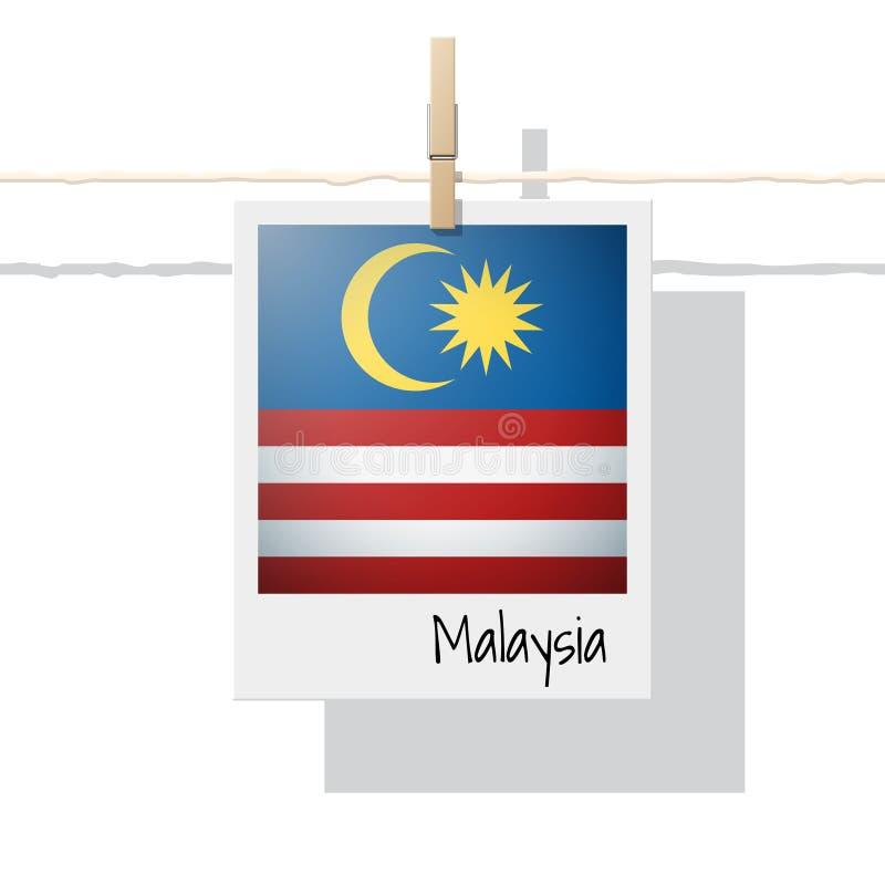 Samling för flagga för asiatiskt land med fotoet av den Malaysia flaggan på vit bakgrund royaltyfri illustrationer