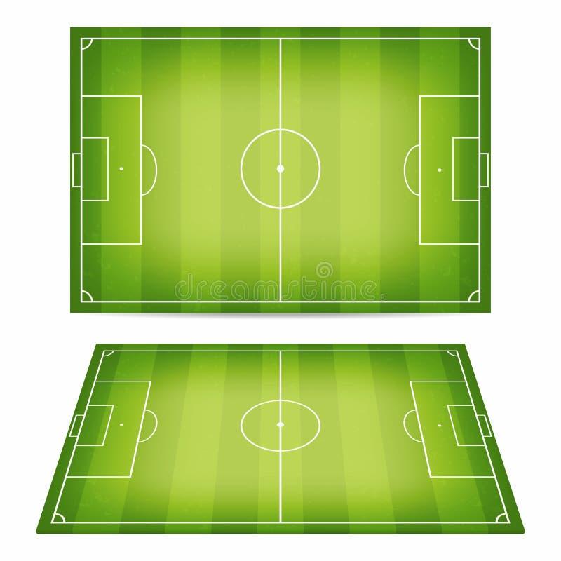 Samling för fotbollfält Fotbollfält med trampat ner gräs Bästa sikt och perspektivsikt royaltyfri illustrationer