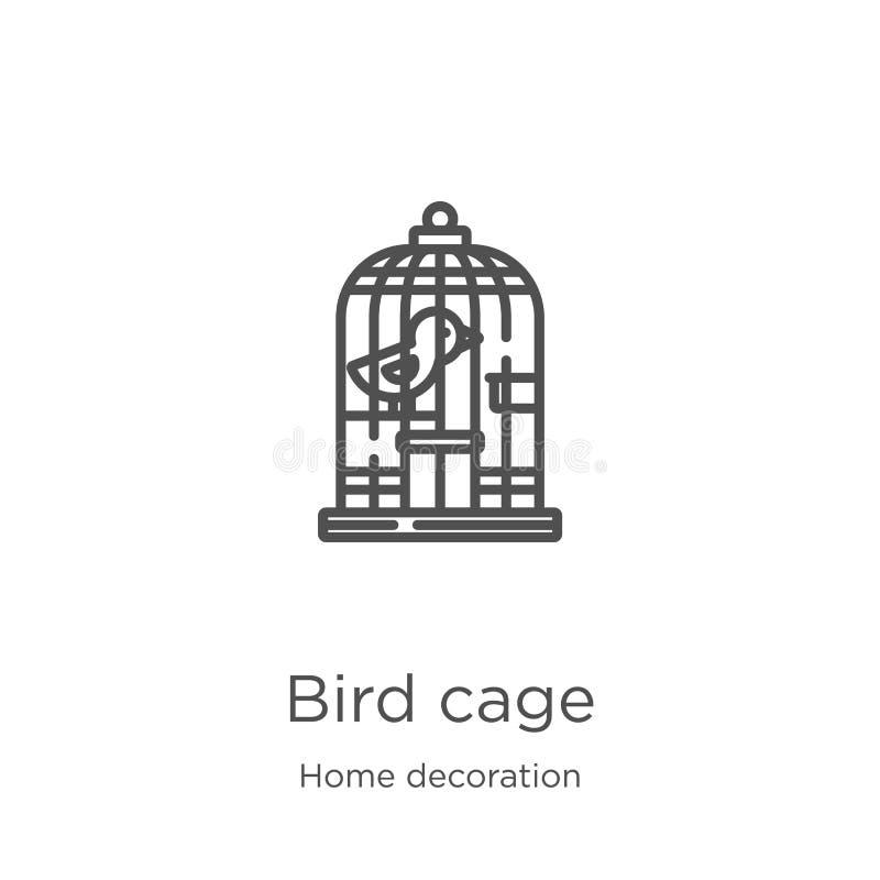 samling för garnering för vektor för symbol för fågelbur hemifrån Tunn linje illustration för vektor för symbol för översikt för  royaltyfri illustrationer