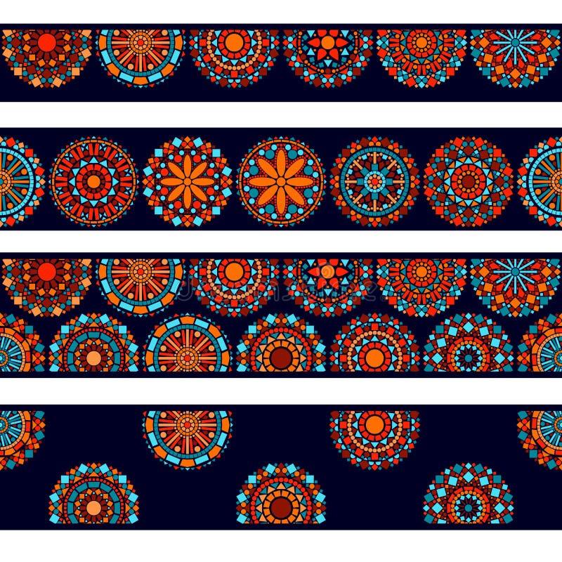 Samling för gränser för färgrika cirkelblommamandalas sömlös i blå rött och orange, vektor stock illustrationer