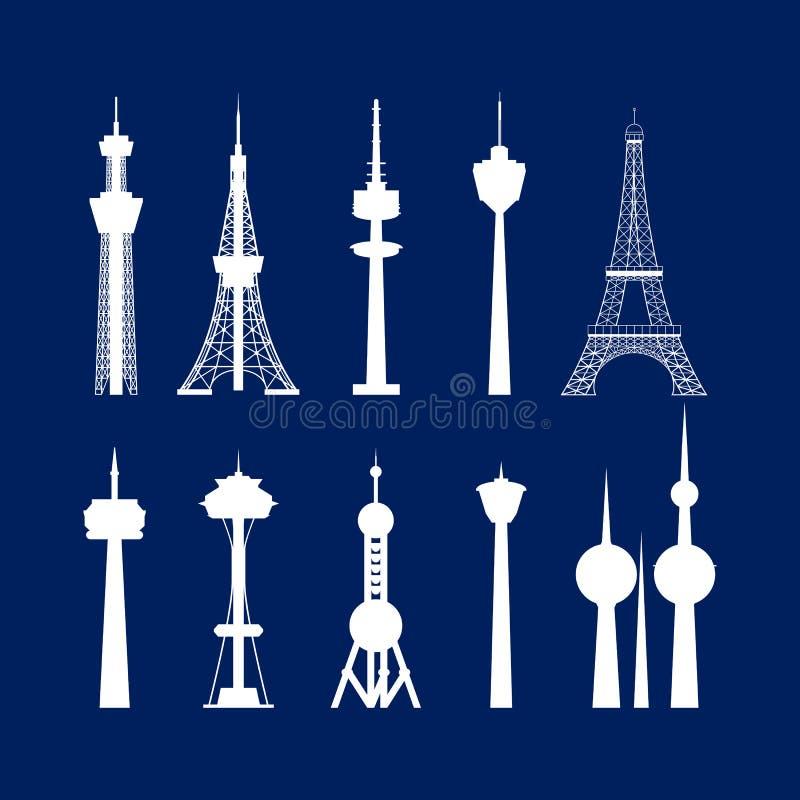 Samling för höga torn för tecknad filmkontur vit vektor stock illustrationer
