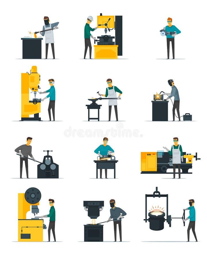 Samling för hovslagareMetalworking Process Flat symboler vektor illustrationer