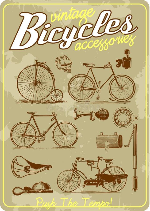 Samling för illustration för cykel- och tillbehörtappningvektor i retro gammal affischstil stock illustrationer