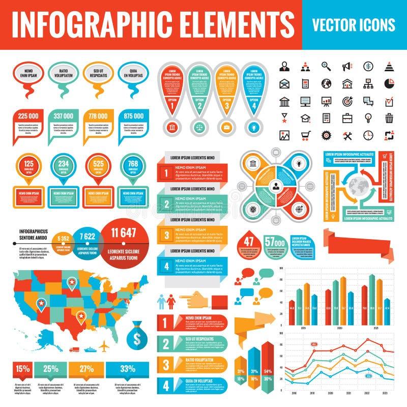Samling för Infographic beståndsdelmall - affärsvektorillustration för presentationen, häftet, websiten etc. vektor illustrationer