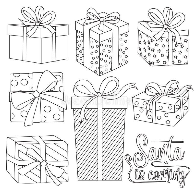 Samling för julgåvaaskar för att färga vektor illustrationer