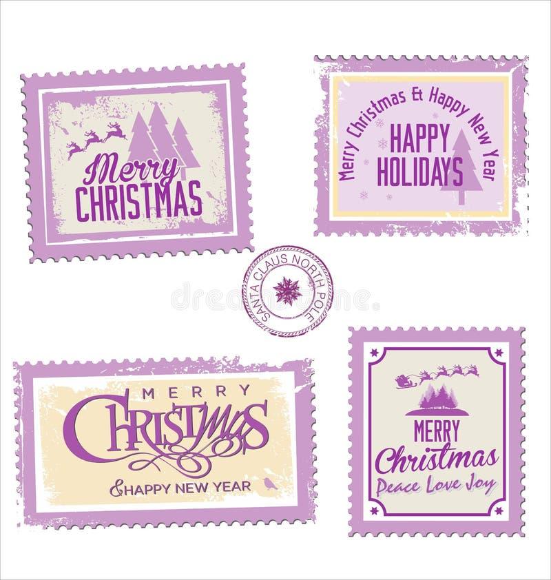 Samling för julstolpestämpel royaltyfri illustrationer