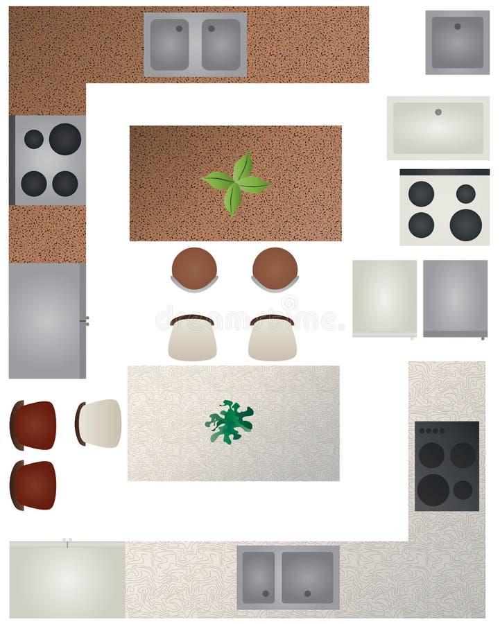 Samling för kök för golvplan vektor illustrationer