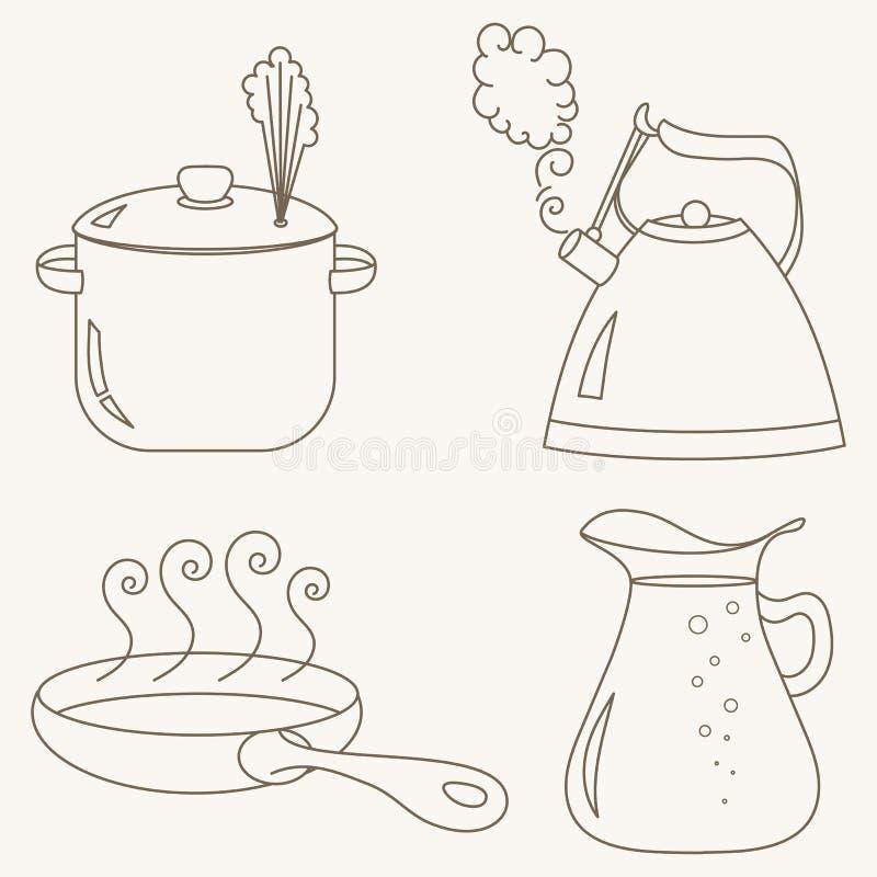 Samling för kökredskapuppsättning stock illustrationer
