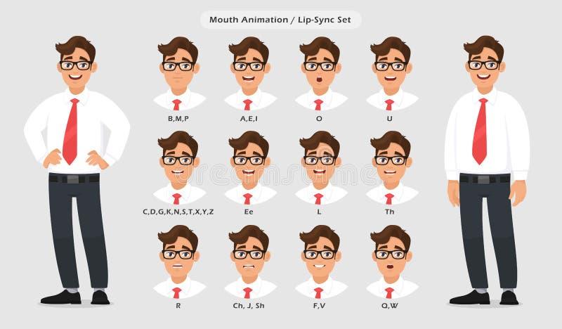 Samling för kantsynkronisering och solitt uttal för manligt teckens talande/talande animering Ställ in av munanimeringen stock illustrationer