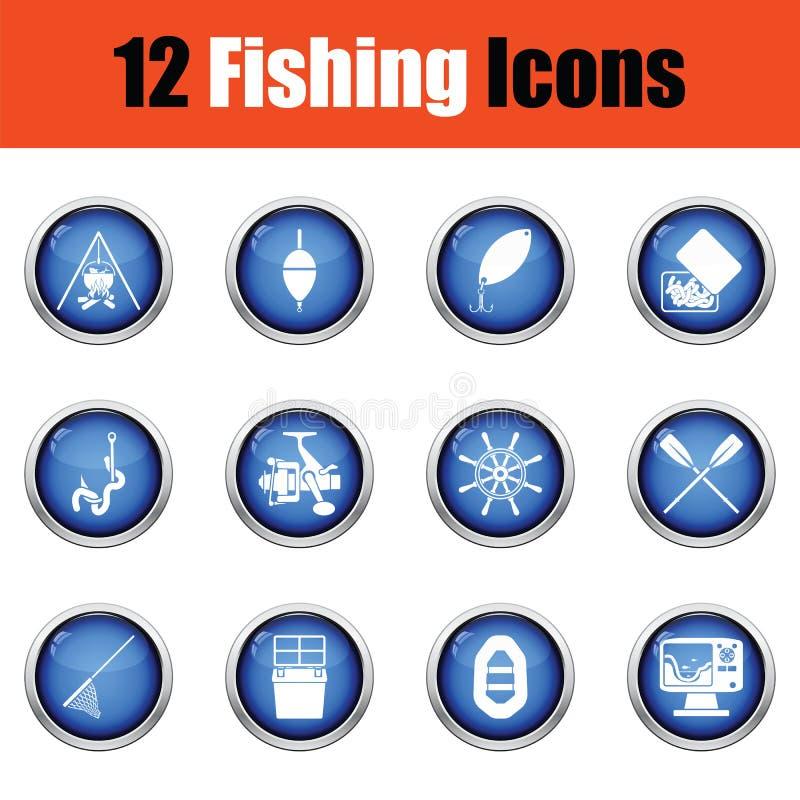 Samling för kontur för utrustning för fisketur som isoleras på vit bakgrund vektor illustrationer