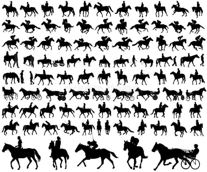 Samling för konturer för folkridninghästar royaltyfri illustrationer