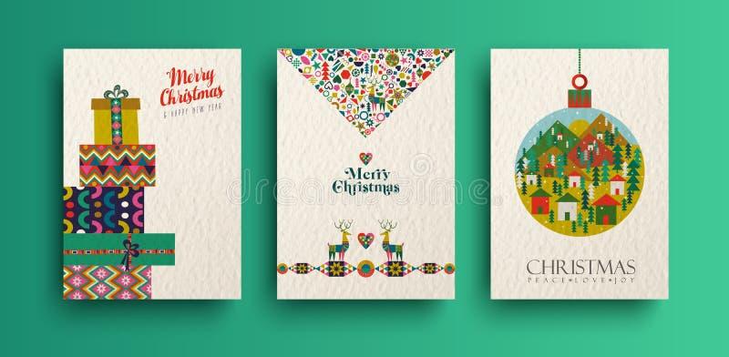 Samling för kort för tappning för glad jul folk vektor illustrationer