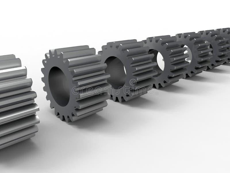 samling för kugghjul 3D stock illustrationer
