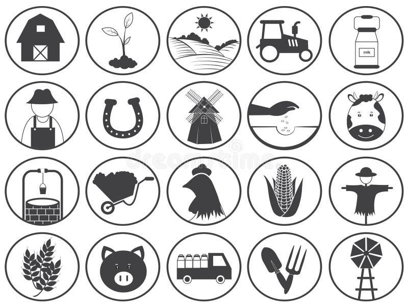 Samling för lantbruksymbolsvektor stock illustrationer