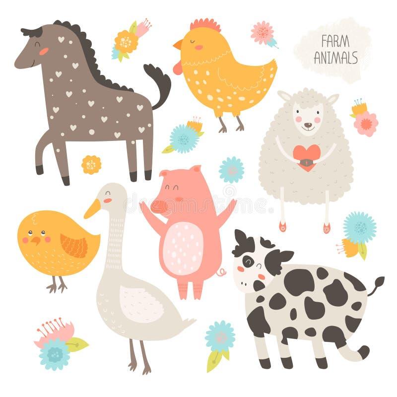 Samling för lantgårddjur royaltyfri illustrationer