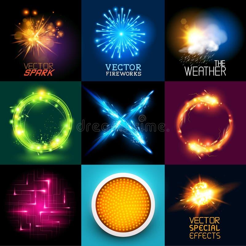 Samling för ljusa effekter för vektor royaltyfri illustrationer