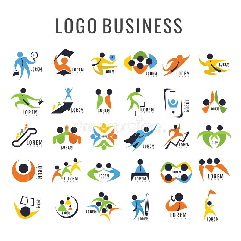 Samling för Logo Business persondesign Freeform symbol Abstra vektor illustrationer