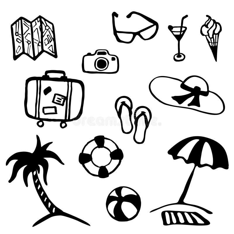 Samling för lopp- och semestersommarsymbol vektor illustrationer
