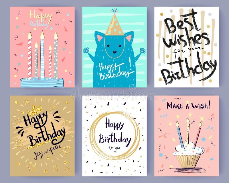 Samling för lycklig födelsedag av idérika vykort stock illustrationer