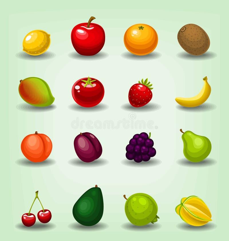 Samling för mall för frukt för vektortecknad film realistisk inklusive starfruit för banan för jordgubbe för mango för kiwi för c royaltyfri illustrationer