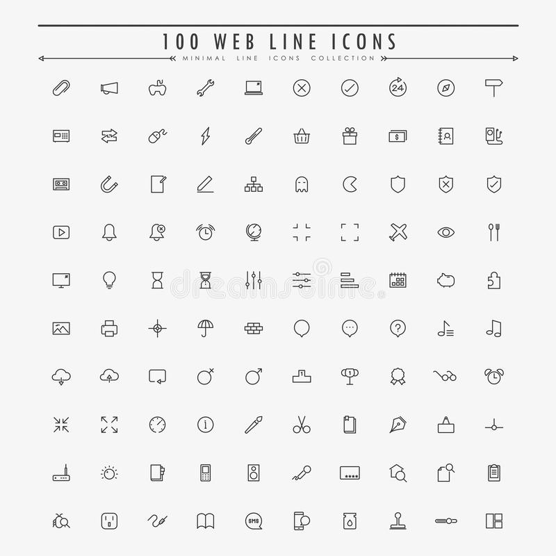 samling för 100 minsta översiktssymboler för rengöringsduk royaltyfri illustrationer