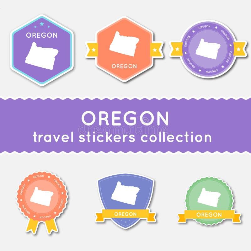 Samling för Oregon loppklistermärkear stock illustrationer