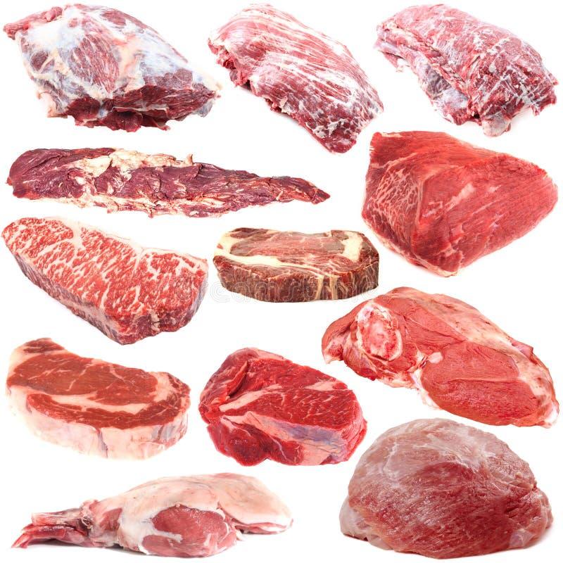 Samling för rått kött royaltyfria foton