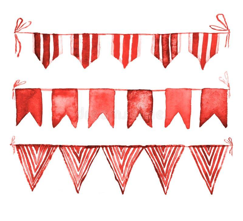Samling för röda flaggor för vattenfärg som målar på papper royaltyfri illustrationer