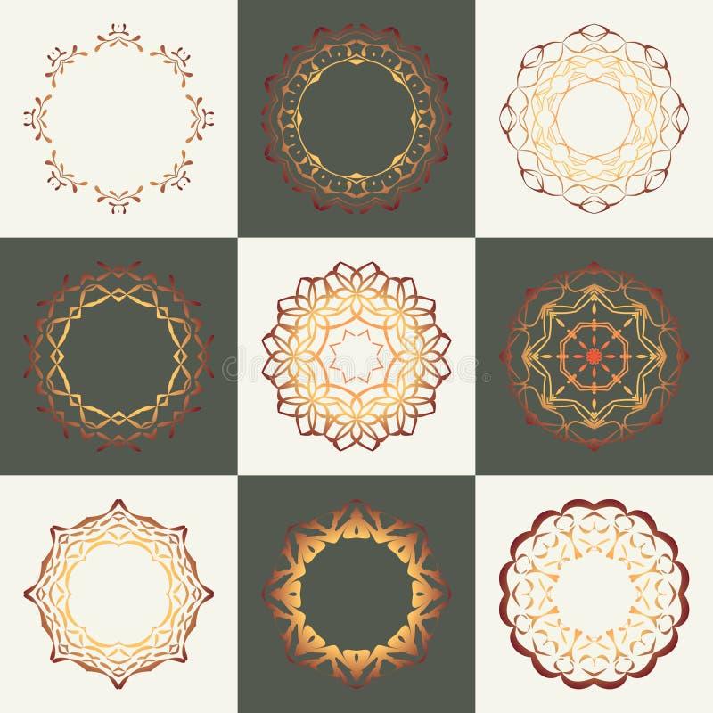 Samling för rosettgränsvektor Gula tappningramar Affärskrusidulltecken, klassisk logo Retro ramar för motiv vektor illustrationer