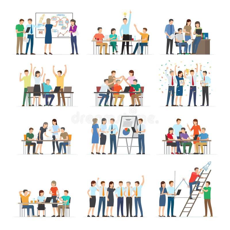 Samling för samarbete för kontorsarbetare på vit stock illustrationer
