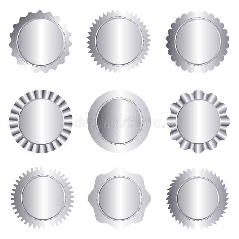 Samling för silverstämpelskyddsremsa som isoleras på vit royaltyfri illustrationer