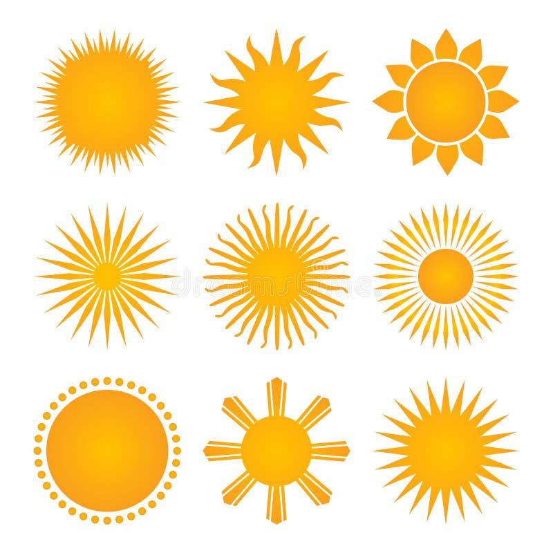 Samling för solsymbolsuppsättning, vektorillustration som isoleras på vit bakgrund royaltyfri illustrationer