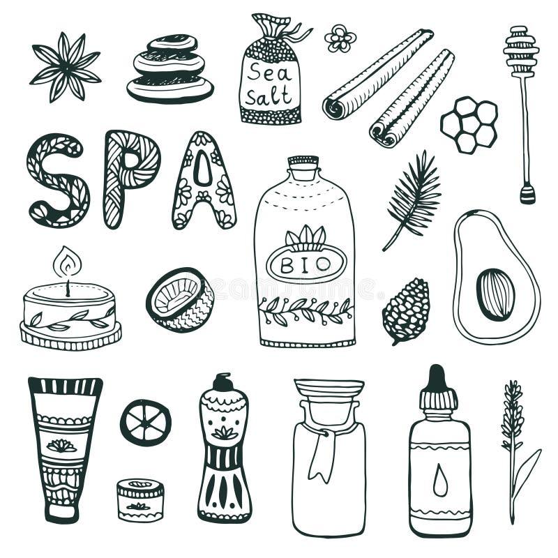 Samling för Spa handgryning gör den kosmetiska symbolen för skönhethuvuddelomsorg manicuren att spika upp set hud för polermedel  royaltyfri illustrationer