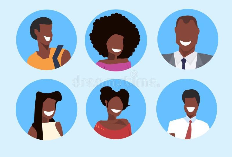 Samling för stående för tecken för tecknad film för fastställd för afrikansk amerikanmankvinna för avatar lycklig profil för fram royaltyfri illustrationer