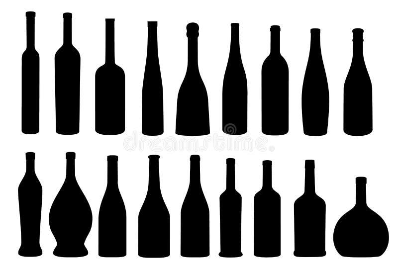 Samling för symbol för vinflaska royaltyfri illustrationer