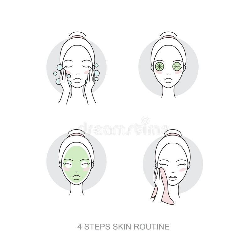 Samling för symbol för kvinnaskincare rutinmässig Moment hur man applicerar framsidasmink Vektor isolerad illustrationuppsättning royaltyfri illustrationer