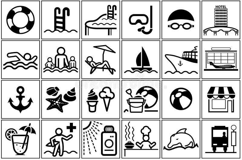 Samling för symbol för sommarsemester royaltyfri illustrationer