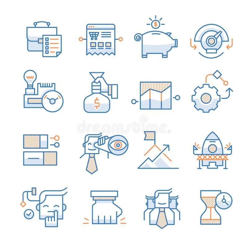 Samling för symboler för affärsstart royaltyfri illustrationer