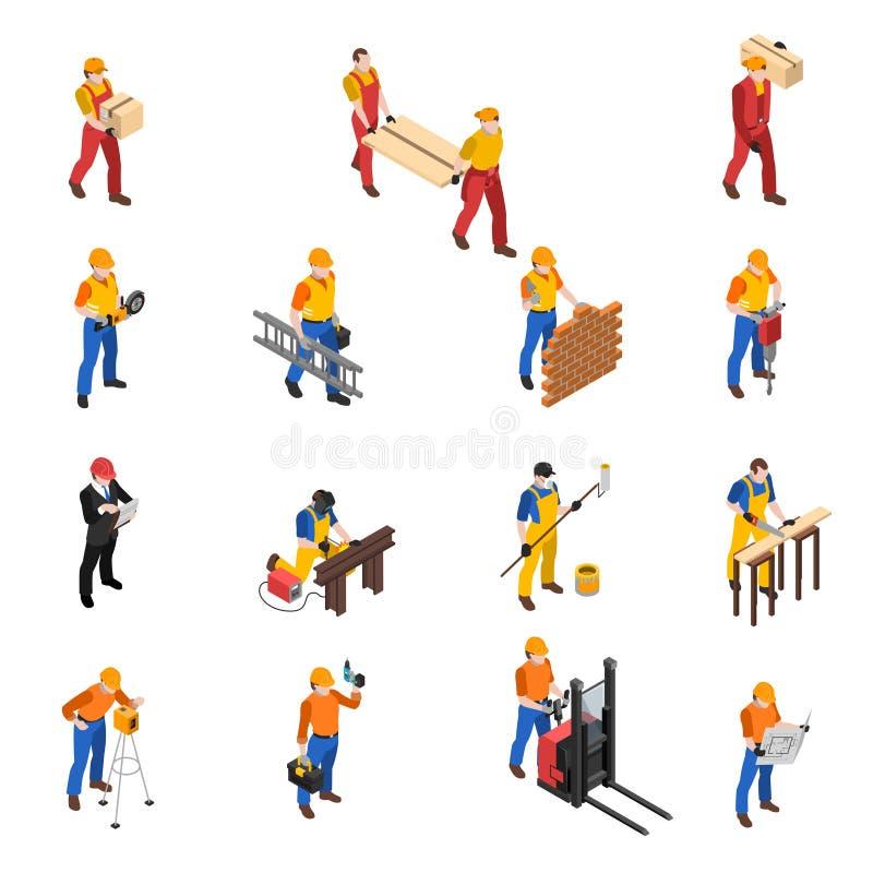 Samling för symboler för byggmästarebyggnadsarbetare isometrisk royaltyfri illustrationer
