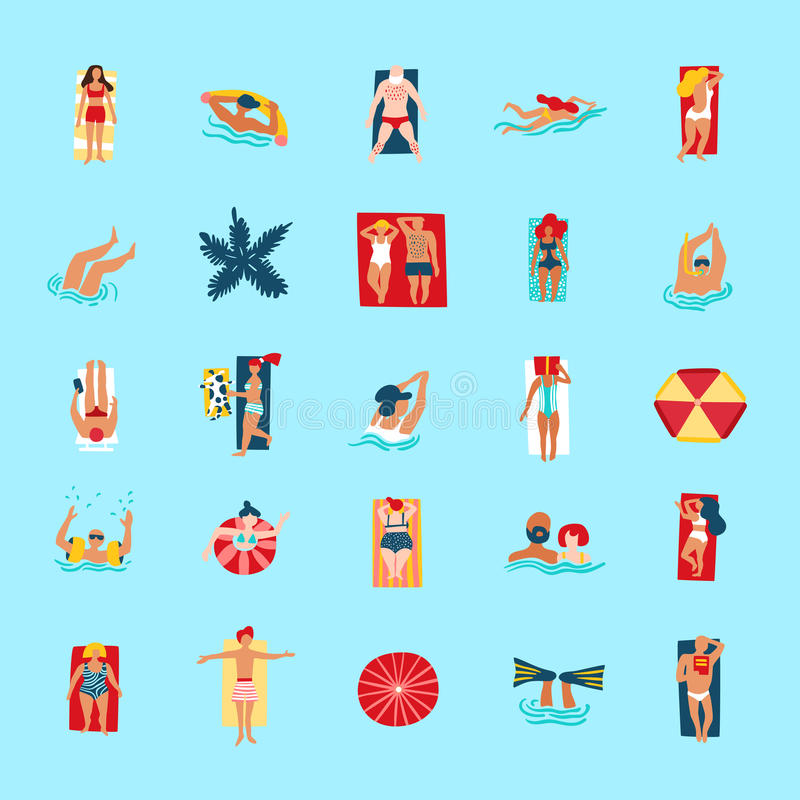 Samling för symboler för strandfolk rolig plan stock illustrationer