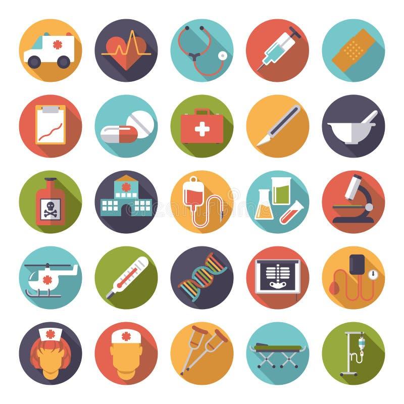 Samling för symboler för vektor för läkarundersökning- och hälsovårdlägenhetdesign vektor illustrationer