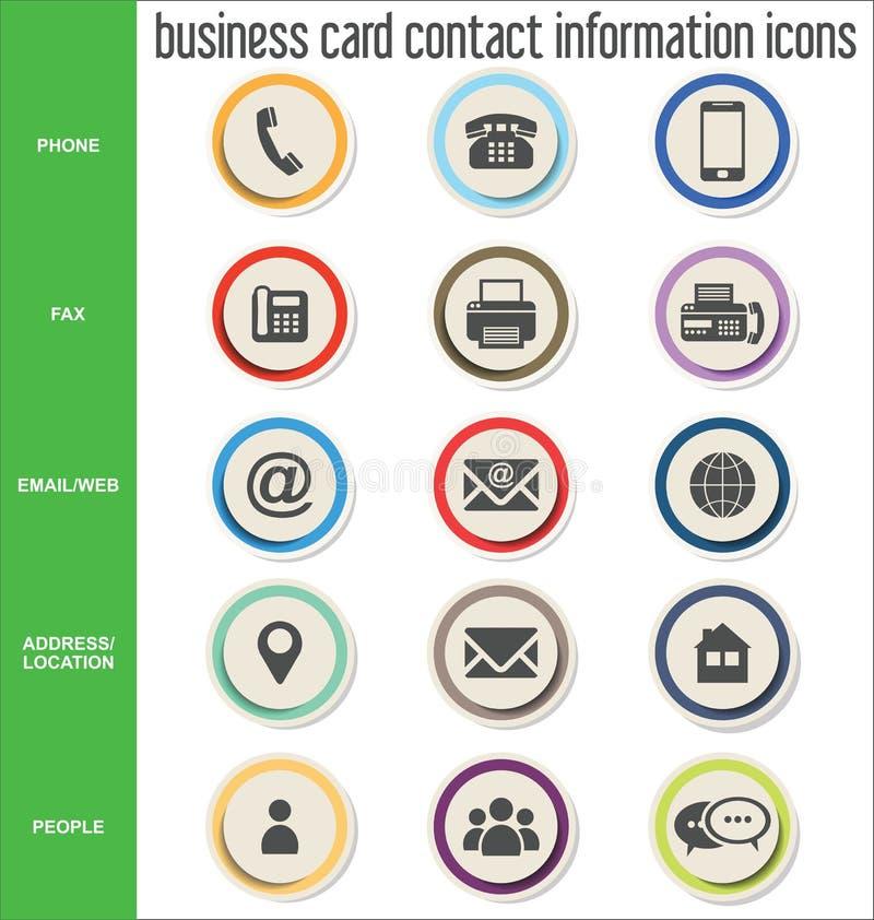 Samling för symboler för information om affärskortkontakt vektor illustrationer