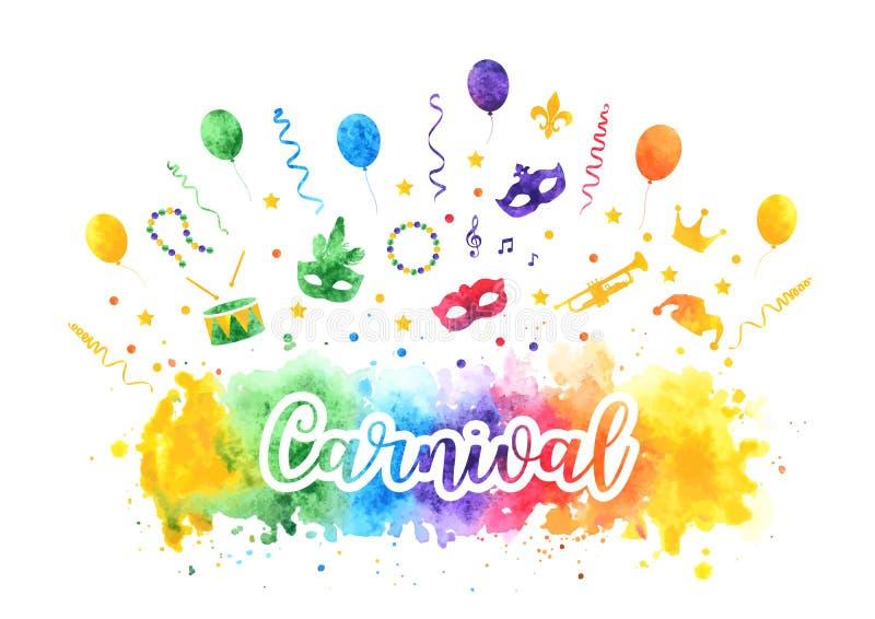 Samling för symboler för Mardi Gras karneval traditionell, karnevalmaskeringar, partigarneringar Best?ndsdelar f?r vattenf?rgf?rg stock illustrationer
