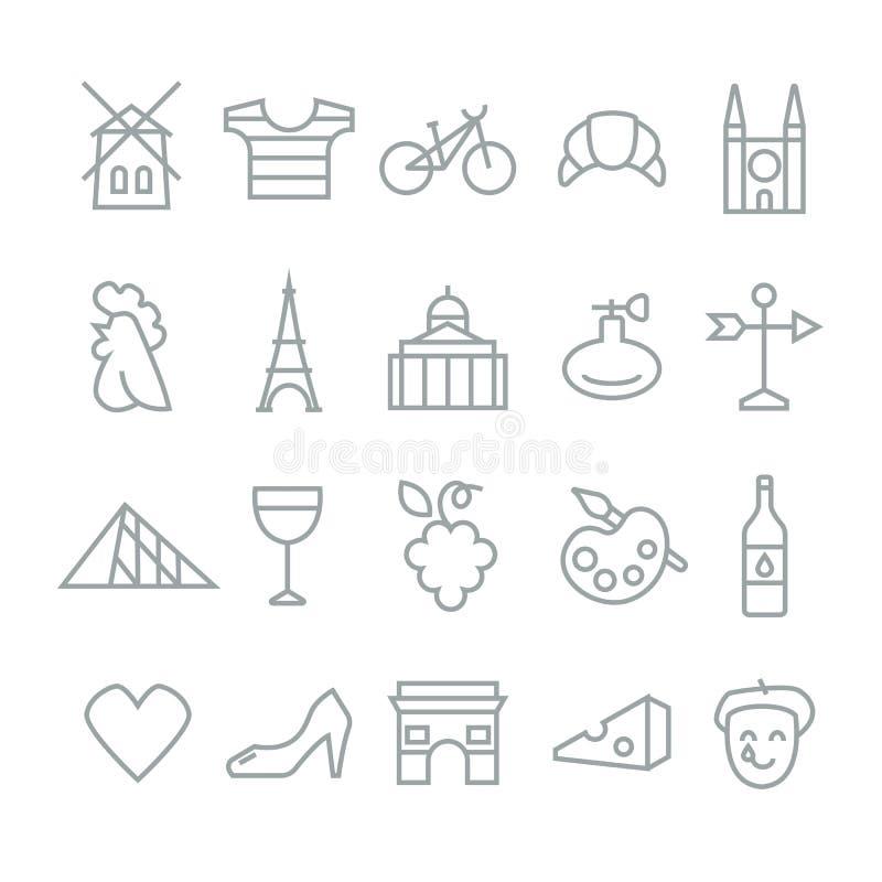 Samling för symboler för symboler för objekt för Frankrike lopp traditionell vektor illustrationer