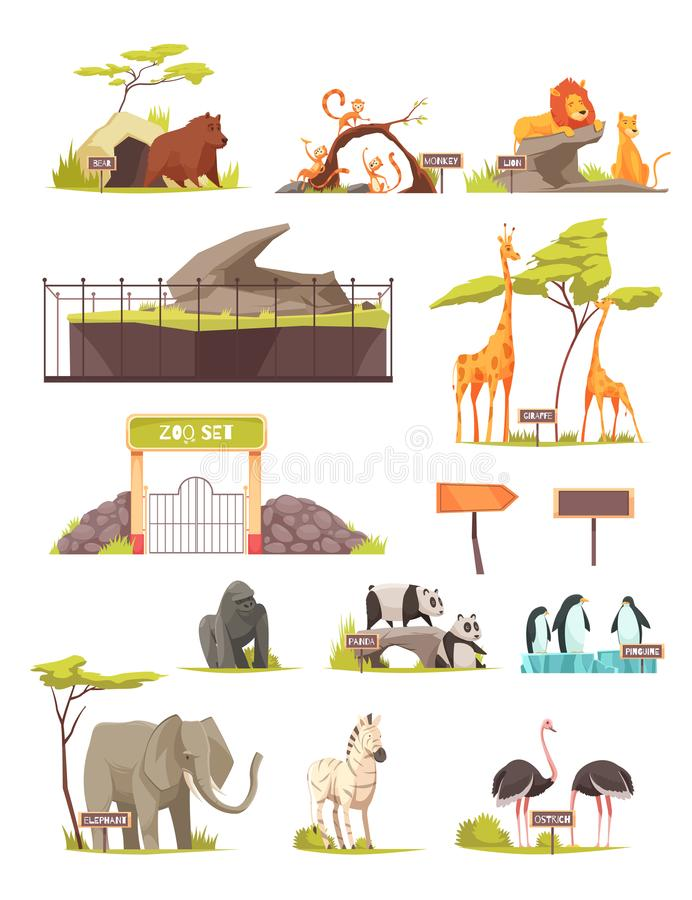 Samling för symboler för zoodjurtecknad film royaltyfri illustrationer