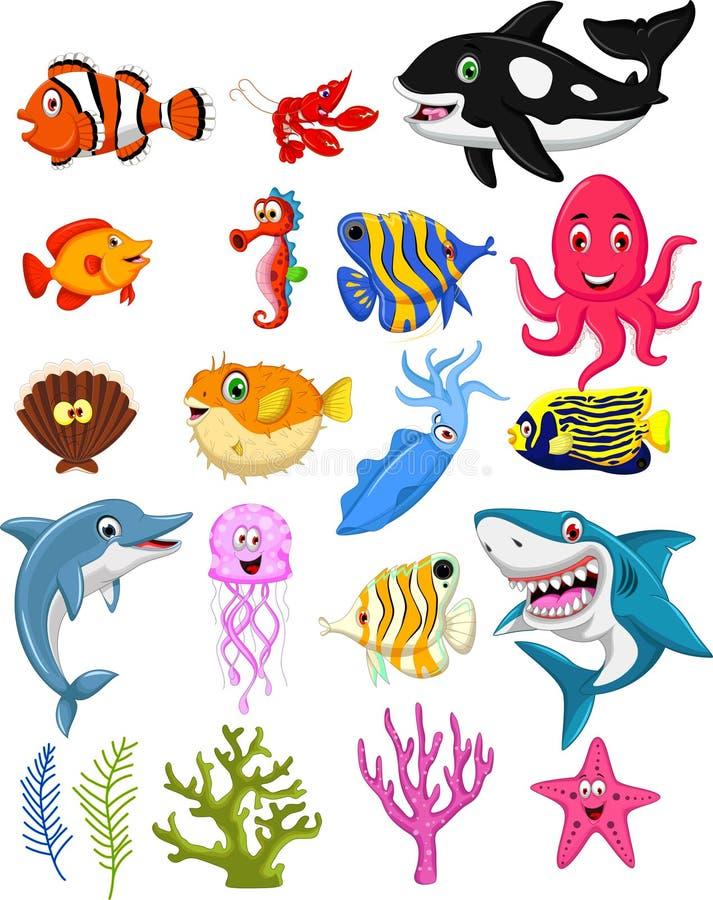 samling för tecknad film för havsliv vektor illustrationer