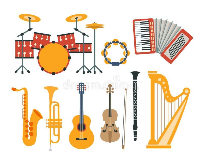 Samling för teckningar för musikinstrument realistisk stock illustrationer